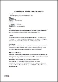 writing a research report format